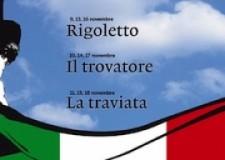 Emilia Romagna. Trilogia popolare verdiana: Rigoletto, Trovatore, Traviata. A Ravenna.