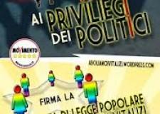 Emilia Romagna. Raccolta firme per l'abrogazione dei vitalizi e delle indennità dei consiglieri.