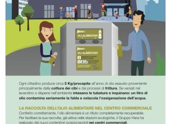 A Rimini il servizio di Hera per la raccolta degli oli usati da cucina presso i centri commerciali.
