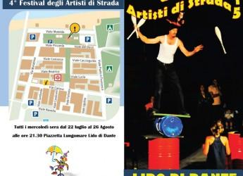 Ravenna. Lido di Dante. Sei appuntamenti con gli artisti di strada in piazzetta Lungomare. Ad esibirsi artisti nazionali e internazionali.