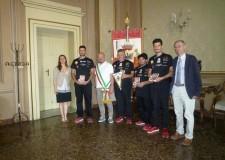 Forlì. I recordmen della pizza più lunga al mondo a Expo 2015 sono stati ricevuti dal sindaco Davide Drei.