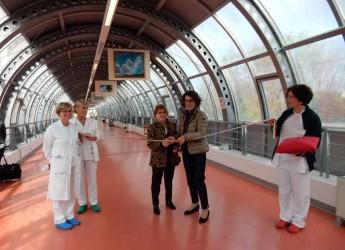 Cesena. 'Guardando il cielo, una mostra pittorica di Giovanna Benzi nel tunnel dell'Ospedale Bufalini.