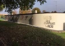 Cesena. Un murales per ricordare Birimbo, Renato Serra e Gino Barbieri sulla parete della sede del custode del Carisport.