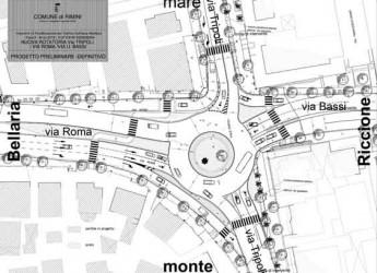 Rimini. Iniziati i lavori del nuovo cantiere per la realizzazione della rotatoria all'incrocio tra via Tripoli e via Roma.