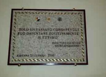 Ravenna. Giornata della Memoria. Alla scuola Mordani la targa dedicata a Giorgio Gaudenzi.