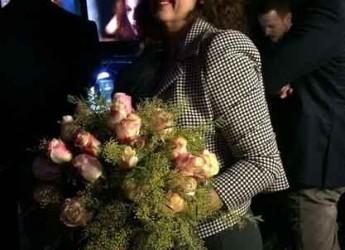 Sanremo. Festival. Il bouquet di Nicole Kidman frutto della creatività della fiorista sammarinese Mara Verbena.