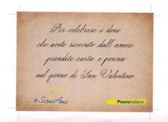 Bologna. San Valentino. Poste Italiane dona agli innamorati una speciale cartolina per riscoprire il fascino della lettera d'amore.