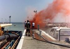 Riccione. Al porto esercitazione antincendio. Venerdì 24 giugno 2016.