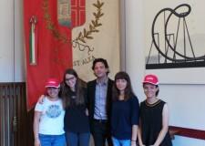 Rimini. In Comune le quattro ragazze coinvolte nel progetto di scambi studenteschi.