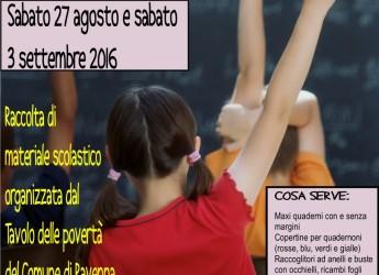"""Ravenna, """"Tutti i bambini vanno a scuola!"""": torna la colletta di articoli di cancelleria per le famiglie in difficoltà"""