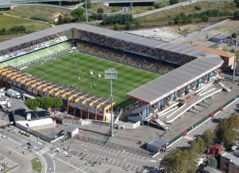Emilia Romagna. Cesena. Lavori allo stadio  'Manuzzi' per gli Europei di calcio Under 21 del 2019.
