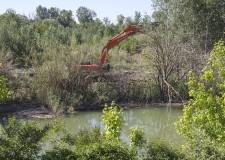 Cesena. Area Ca'Bianchi. Lavori in corso per una cassa di espansione fluviale e un' oasi naturale.