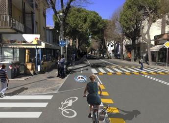 Rimini. La nuova ciclabile a San Giuliano, protetta e rialzata, con lunghezza totale di 907 metri.