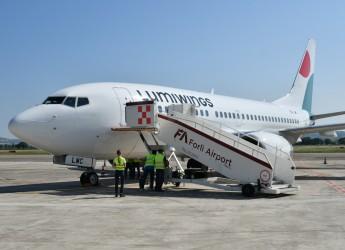 Forlì. Areoporto 'Luigi Ridolfi'. E' arrivato Itaca, un secondo aereo della compagnia  greca  Lumiwings.