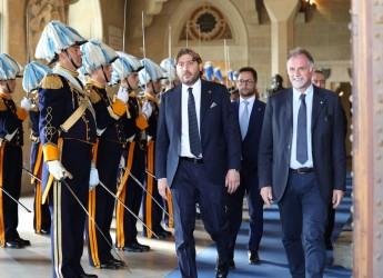 San Marino. Il Ministro del Turismo italiano Massimo Garavaglia in visita ufficiale. Primo bronzo per il Titano.