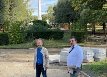 Forlì. Parco della Resistenza. Avanti con i lavori di riqualificazione. La fontana ripulita e  riattivata.
