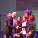 25° compleanno Marco Simoncelli, Rimini.La famiglia Simoncelli e Kate.